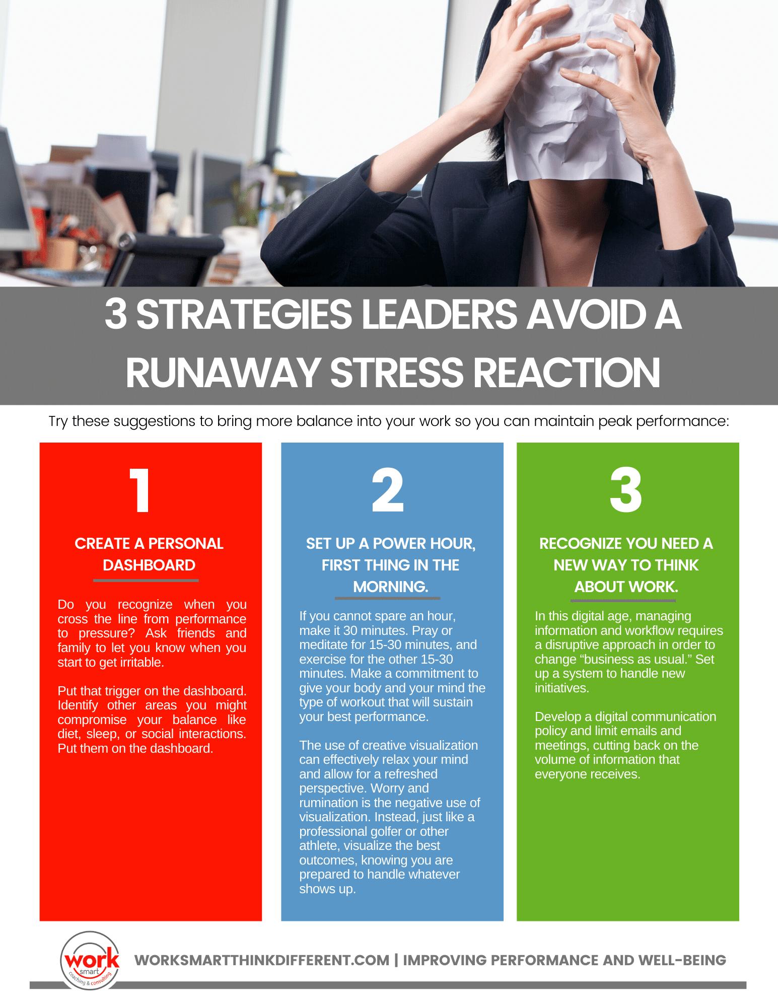 3 Strategies leaders Avoid a Runaway Stress Reaction